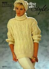 "ST0872 LADIES CHUNKY MOCK CABLE SWEATER KNITTING PATTERN 32-38""/81-97cm"