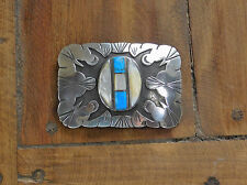 Vintage Navajo Sterling Silver, Turquoise, and Mother of Pearl Belt Buckle
