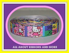 7/8 INCH ALL HELLO KITTY COLORFUL PASTEL SQUARES GROSGRAIN RIBBON- 1 YARD