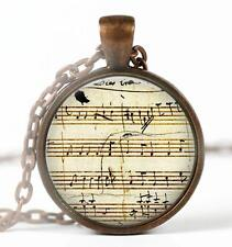"""Vintage Music Sheet Mozart Pendant Charm or Key Chain 1"""" Copper Music Lover A5"""
