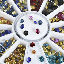 3D Nail Art Tips Mixed Gem Crystal Glitter Rhinestone DIY Decoration Wheel YK