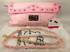 Hello Kitty Quality Pink Purse Clutch Bag Gold Accents Faux Leather Style