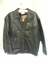 Mens Coat - Akaso, size S, black, leather, zip up, stiff, casual used - 7633