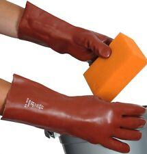 IMPERMEABILE lungo 33 cm Heavy Duty Guanti Domestici Gomma Rivestito in PVC TAGLIA 10 XL