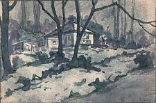 MARCUS ADAMS Watercolour Painting HOUSE IN FOREST LANDSCAPE c1940 IMPRESSIONIST