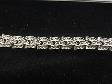 Estate Vintage Bracelet Faux Marcasite Granulated Chevron Pattern Silver Tone