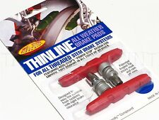 NEW Kool-Stop Thinline Mt Bike/MTB V Brake Pads - Threaded All-Weather Red