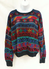 PERUVIAN CONNECTION Womens Blue Red 100% Soft Alpaca Sweater L Petite