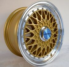 "15"" LENSO A01 GOLD POLISHED ALLOY WHEELS 4X100 RENAULT 5 & 9 HONDA CIVIC & CRX"