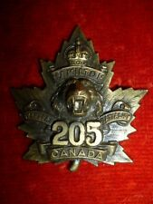 CEF - 205th Battalion (Hamilton Tiger Cats) Cap Badge WW1, Canadian