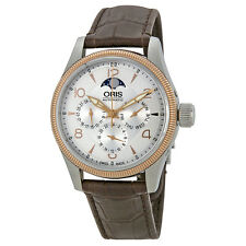 Oris Big Crown Complication Silver Dial Brown Leather Mens Watch 01 582 7678
