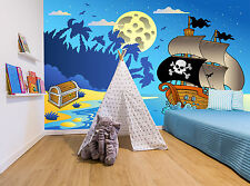 Pirate Ship Water Cartoon Kids Wall Mural Photo Wallpaper GIANT WALL DECOR
