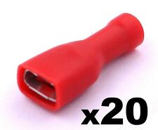 20x Red Female 6.3mm Spade Connector Insulated Crimp Terminals Electrical Wiring