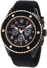 Freelook Men's HA9058RG-1 Black Chronograph Dial Rose Gold Black Silicone Bezel