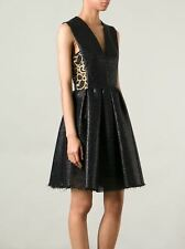 New MSGM Woven Flared Dress with Gold-Toned Floral Lace Panels 44