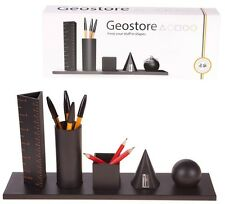 Lagoon Geostore 3D Shape Desk Tidy Organiser Black Office Storage Desktop Pots