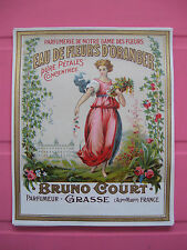 1 ANCIENNE ETIQUETTE PARFUM FLEURS D'ORANGER/ANTIQUE PERFUME LABEL FRENCH PARIS