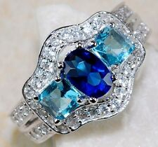 3CT Blue Sapphire & Aquamarine Topaz 925 Solid Genuine Sterling Silver Ring Sz 8