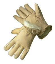 Tan Leather Pile Lined Cold Weather Gloves