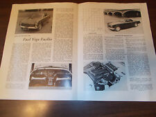 1960 Facel Vega Facellia Autosport Factory Reprinted Article /J. Bolster Test