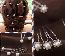 20PCS Women Silver Bridal Wedding Flower Crystal Rhinestones Pearls Hair Clip