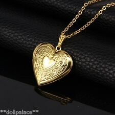 18K Gold Plated Heart Photo Locket Pendant Chain Necklace Valentines Love *UK*