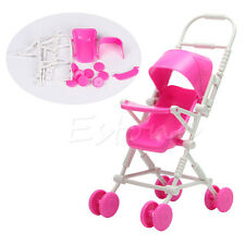 New Assembly Pink Baby Stroller Trolley Nursery Furniture Toys For Barbie Doll