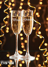 Bride and Groom Champagne Flute Glasses / Wedding Toasting Glasses / #1