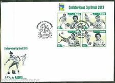 MALDIVES  2013  BRAZIL CONFEDERATION CUP SOCCER SHEET  FIRST DAY COVER