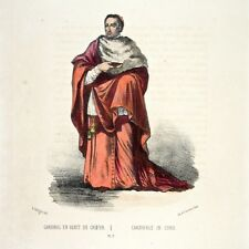 Antique FrenchItalian Lithograph, Vatican Costumes, Rome, Cardinal, 1862