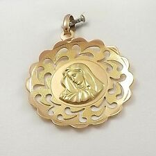 18K Rose Yellow Gold Madonna Mother of Sorrows Medal Charm Pendant  3.9gr