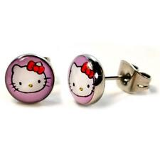 STAINLESS STEEL POST EARRINGS HELLO KITTY 8mm Cute Tiny Pink Pair NEW Stud Cat