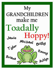 PERSONALIZED FROG GRANDCHILDREN FRIDGE MAGNET