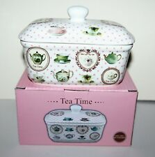 Tea Time Fine China Butter Dish Teapots & Cups Gift Box Kitchen Home   LP92414