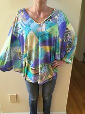 NEW EMILIO PUCCI Shirt Top Blouse Cover-Up ITALY Sz 42 Signature Print $599