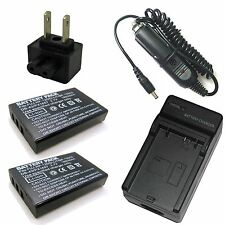 Charger +2x Battery for Vivitar DVR-980HD Sea&Sea DX-8000G Insignia NS-DV111080F