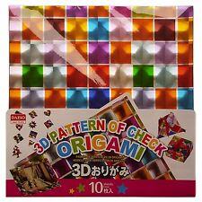 "JAPANESE Origami 10 Sheets 5.9"" Square 3 D Multicoloured Check Pattern"