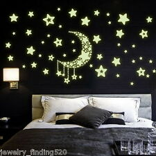 1Sheet Wall Sticker Glow In The Dark Fluorescent Moom Stars For Kids Rooms