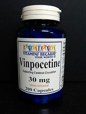 Vinpocetine 30 mg 200 Capsules Maximum Strength Memory, Brain Health