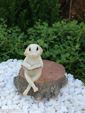Miniature Dollhouse FAIRY GARDEN ~ Bunny Rabbit Reading Book on Tree Stump ~ NEW
