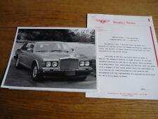 """Bentley huit communiqué de presse & photo """"sales brochure"""" connecté"""