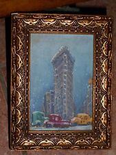 vintage oil painting,New York City street snow secene