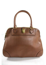 AUTH MARC JACOBS Brown Leather Gold Tone Bowler Satchel Handbag RHB21