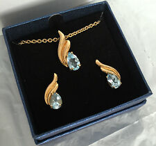 QVC Gold Plated Pendant and Earrings Set 14k Gold 18