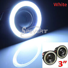 "2X 3"" 3200LM Fog LED Light COB Halo Projector Angel Eye White Rings Car Lampe"