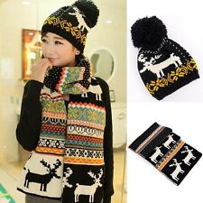 Christmas New Year Winter Black White Reindeer Scarf Hat 2 Pcs Set Thick Warm