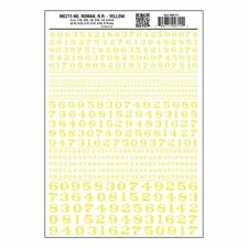 Numbers Dry Transfer Sheet, Roman RR Yellow Dt - Woodland Scenics WMG711