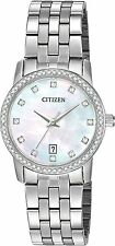 Citizen EU6030-56D Women's Stainless Steel Swarovski Accented MOP Dial Watch