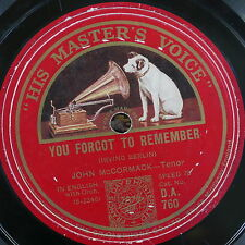 78rpm JOHN McCORMACK you forgot to remember / oh how i miss you tonight
