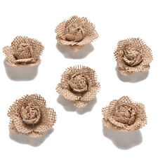 6x Handmade Jute Hessian Burlap Flowers Rose Shabby Chic Wedding Decor Rustic